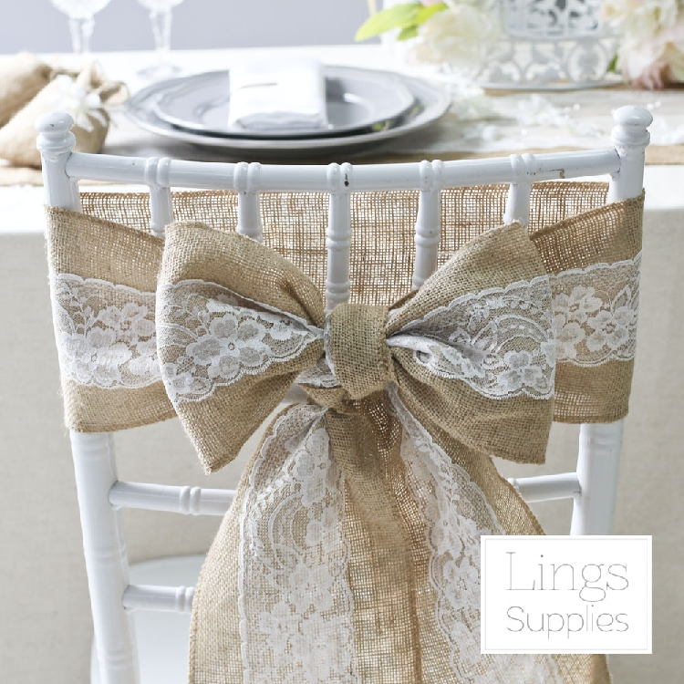 2016 10pcs hessian chair sashes jute burlap lace rustic vintage shabby wedding favor decor in. Black Bedroom Furniture Sets. Home Design Ideas