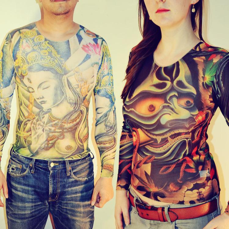 Women and man tattoo t shirt vigorous tiger pattern mesh for Mesh tattoo shirt