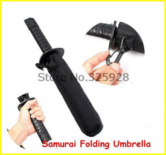 50pcs/lot Invincible Samurai Folding Umbrella Strong Windproof Short Style Umbrella Samurai Sword Ninja Katana Umbrella(China (Mainland))
