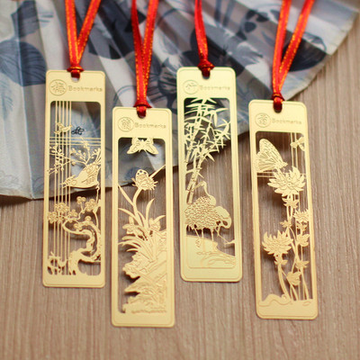 4pcs/lot Creative Chinese style gold metal bookmarks plum blossoms orchid bamboo vintage butterfly book marks gifts for teachers(China (Mainland))