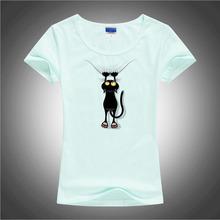 BGtomato Hot sale summer naughty black cat 3D t shirt women lovely cartoon shirt Good quality comfortable brand cotton shirts(China (Mainland))