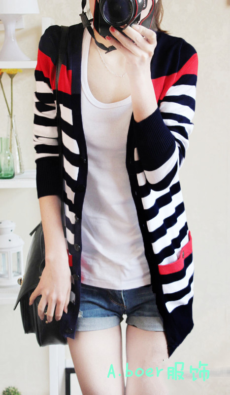 2015 New Arrival Jumper Women%27s+outerwear+sweaters++female+all-match+medium-long+stripe+sweater+female+cardigan+2014+spring(China (Mainland))