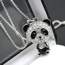 $10 (mix order) Free Shipping Imitation Diamond Sweater Chain Necklace Cute Female Panda Jewelry N001 10g