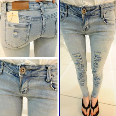 2013 light color hole denim pencil pants slim skinny pants n25  (Free shipping)