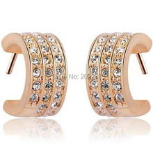 NEW plating Rose gold earrings Fashion Rose gold & amethyst earrings For women Vintage jewelry ornaments Birthday present(China (Mainland))