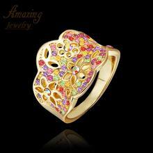 Free shipping brand Fashion Jewelry luxurious CZ diamond ruby sapphire wedding 18K rose Gold Plated lord