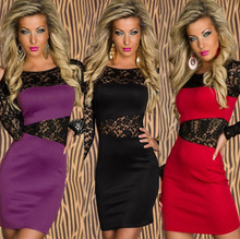 Sexy womens Slash neck Lace Slim long sleeve lace Party Cocktail Party dress zebra Red, purple, black vestido sexy free shipping(China (Mainland))
