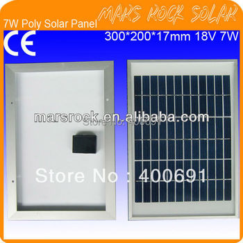 7W 18V Polycrystalline PV Solar Panel with Aluminum Alloy Frame, 36 Cells,3.2mm Tempered Glass,Nice Appearance,Good Performance