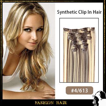 "1set clip in synthetic hair extension 18"" 20"" 22"" straight heat resistance fibre hair #4/613 color 7pcs/set 100grams"