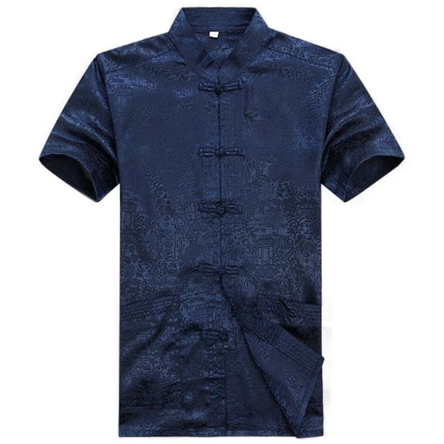 Летняя рубашка мужчины с коротким рукавом традиционный китайский топы для мужчин ...