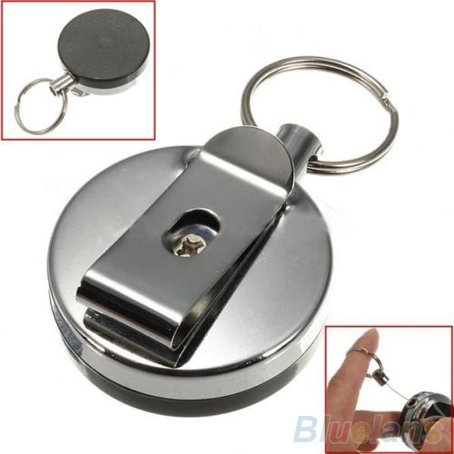 Retractable Metal Card Badge Holder Steel Recoil Ring Belt Clip Pull Key Chain 2KFP(China (Mainland))