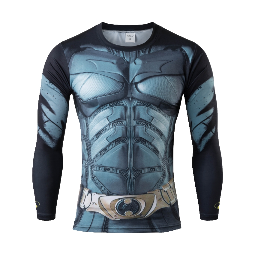 ot 2016 Superhero Superman/Batman/Spiderman Men Long Sleeve T Shirt Gym Compression Tights Tops Fitness Running Sports T-shirt(China (Mainland))