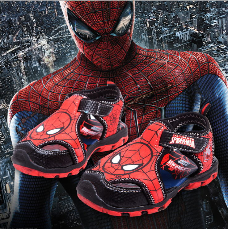2015 new models spiderman boy sandals toe protection comfortable and cool shoes fashionable sandals breathable casual shoes(China (Mainland))