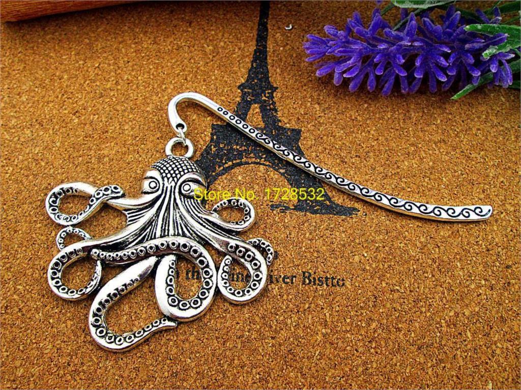 10pcs/lot Antique silver 59*56mm large size Octopus Fish charm pendant Bookmark(China (Mainland))