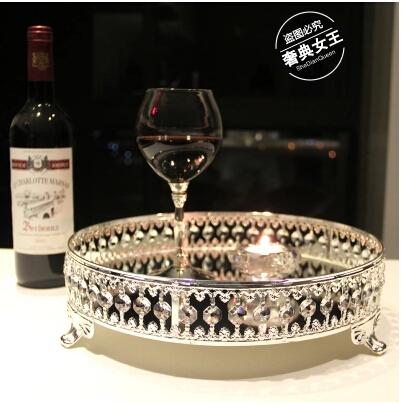 European metal silver tray cake pan fruit plate tray for Miroir 3 pans