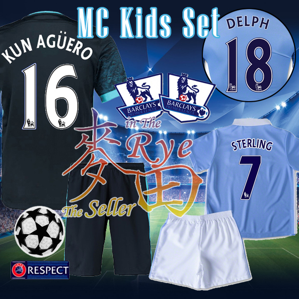 Manchester Kids City Soccer Jersey 2016 STERLING KUN AGUERO Youth Camisetas Ninos Football Shirt Mini Kits Boy Child New 15 16(China (Mainland))