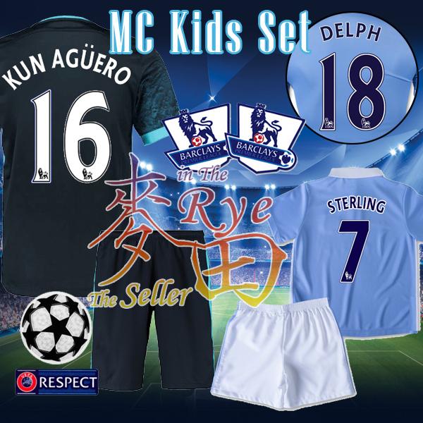 Manchester Kids City Soccer Jersey 2016 STERLING KUN AGUERO Youth Camisetas Ninos Football Shirt Mini Kits Boy Child New 15 16(China (Mainland))