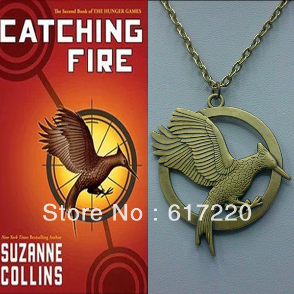 2013 New arrival Movie Products Catching Fire Necklace The Hunger Game II Double Sided Bird Necklace Free Shipping 24pcs/lot