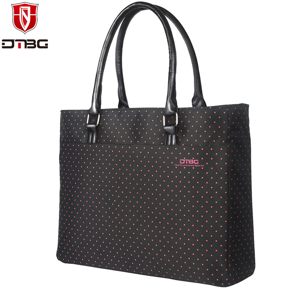 DTBG Women 15 15.6 inch Laptop Handbag Totes Lovely Dots Girl Briefcase for ASUS MacBook 13 15 inch Super Light Computer Bag(China (Mainland))