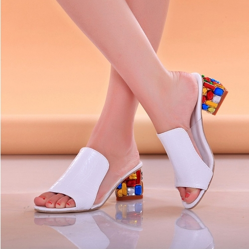 Drop Shipping Thick High Heels Platform Sandal Shoes For Women Sexy Casual Rhinestone Summer Dress Shoes(China (Mainland))