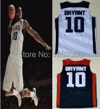 Free shipping cheap price #10 Kobe Bryant USA Jersey Dream Team Authentic Jersey USA Olympic Games Blue White Basketball Jersey(China (Mainland))