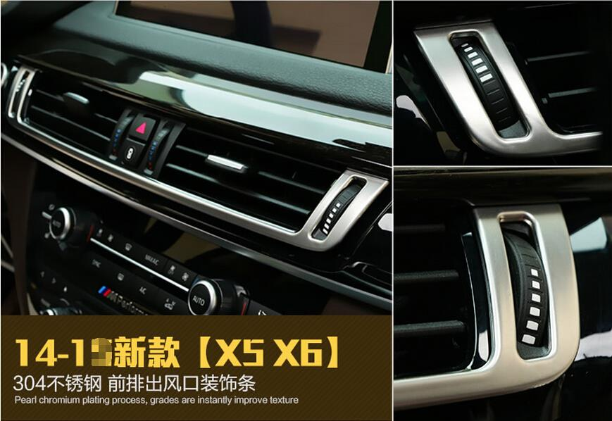 For BMW X5 F15 2014 / X6 F16 2015 stainless steel Dashboard Console AC Air Vent cover Trim1pcs / 3 color for color!<br><br>Aliexpress