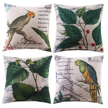 Plants/leaf/bird/floral cotton and linen throw pillow case
