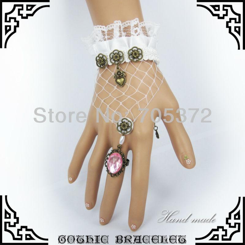 10Pcs /Lot Cheap Charm Handmade Wedding White Lace Bracelets Fashion Gothic Royal Girl Party Jewelry Alloy Crystal Finger Set (China (Mainland))