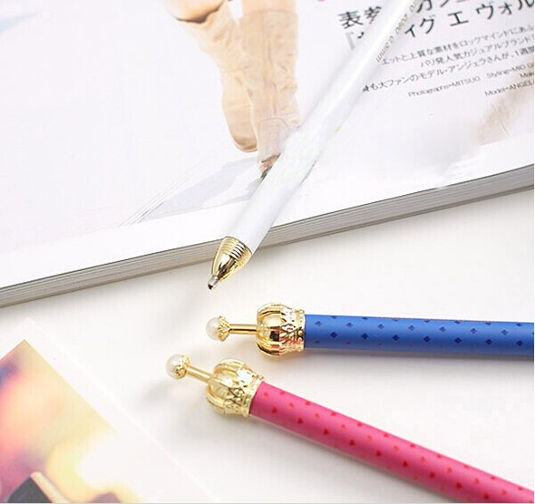 0.5mm New Fashion & Cute Crown Style Ballpoint Pens,Office and School Pen for Kids Children Students and Office Ball Pen,as Gift