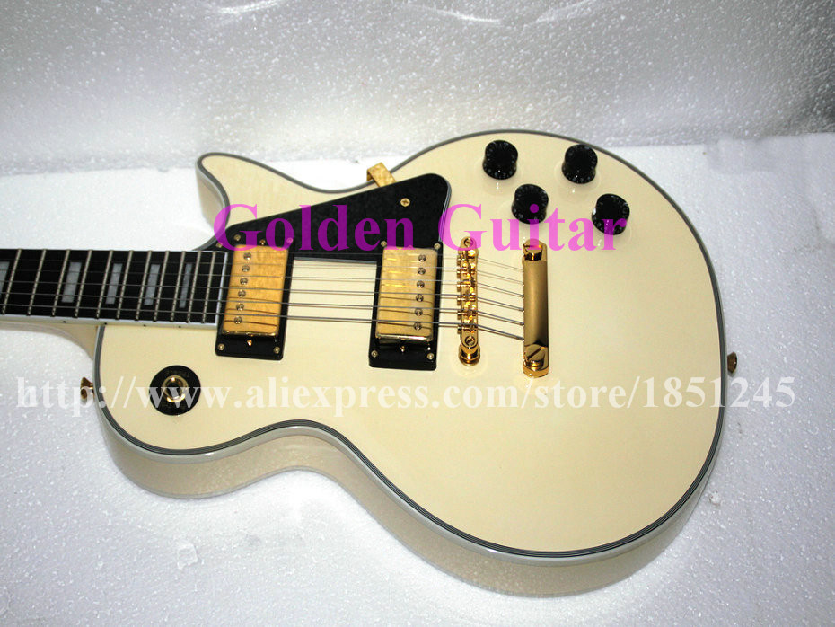 Factory Custom Electric Guitar Cream Mahogany 6 Strings Guitars Ebony fingerboard Free shipping(China (Mainland))