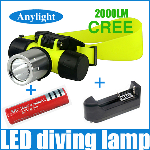 LED diving headlight 2000 Lumens diving cree xm-l underwater dive headlamp + EU/US charger + 18650 Rechargeable Battery WLF89<br><br>Aliexpress