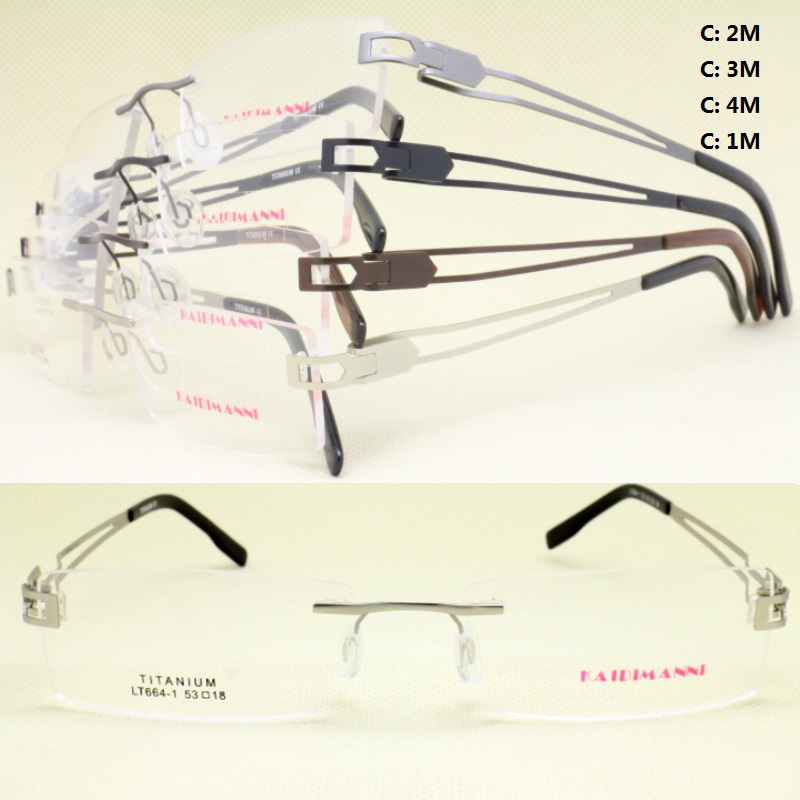 wholesale LT664 IP vacuum color pure titanium rimless with flexible bendable mechanical temple optical frames free shipping(China (Mainland))
