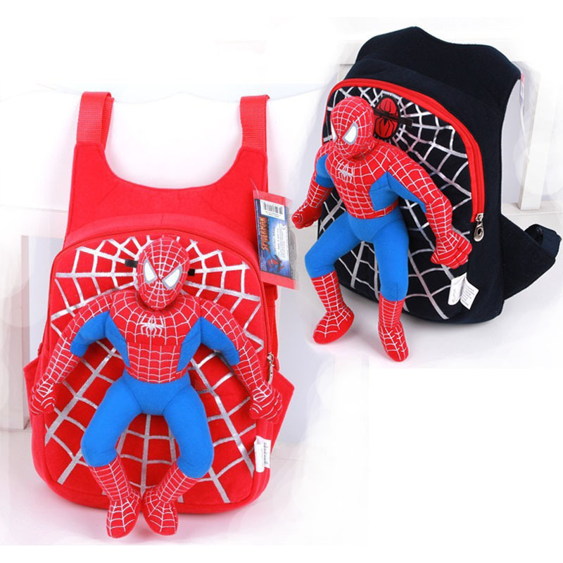 2015 New Cute 3D spiderman boys school bag backpack children bags mochila infantil kids travel red black