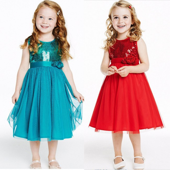 EMS DHL Free shipping Wholesale retail Sparkle Sequine Toddlers princess dress X-masred Party Dress Christmas Wear Holiday wear(China (Mainland))