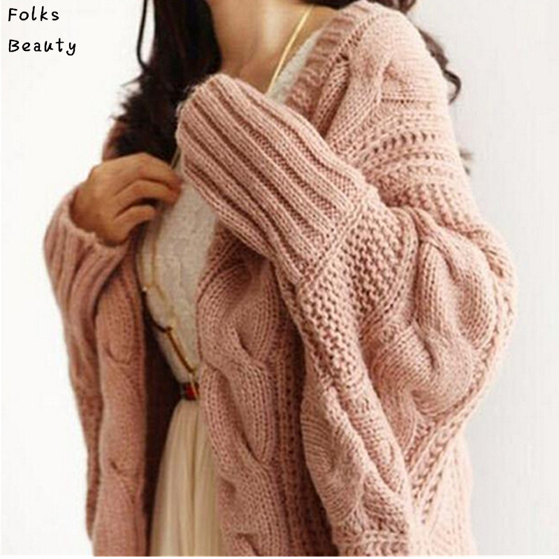 Women Cardigan Knitted Long Sleeve Batwing poncho Sweater Cardigans Fashion Ladies Coat Solid Crocheted Sweaters Tops Autumn