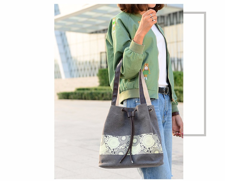 Ladies Pattern Print Canvas Handbags Bucket Women bag 2017 bolsos mujer grandes drawstring Female Tote Bag designer Shoulder Bag
