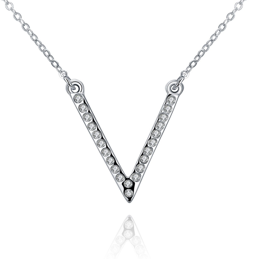 simple style big letter v cz diamonds ol lady pendant fashion luxury austrian crystal silver plated