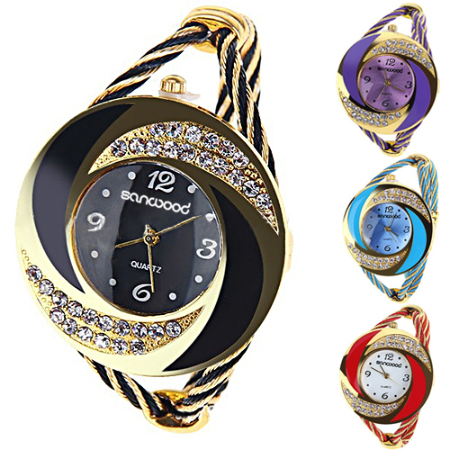 Гаджет  Fashion Women Round Crystal Rhinestone  Decorated Bangle Cuff Analog Quartz Bracelet Watch None Часы