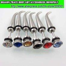 144pcs OX Horn 316L Statinless Steel Earring Fancy Fashion Ear Stud Fake Ear Expander Men's Ear Ring Fashion Body Jewelrry
