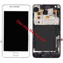 100% гарантия дисплей для Samsung galaxy S2 большой i9105 i9105P жк-дисплей сенсорный экран планшета + рама монтажный комплект ( белый )