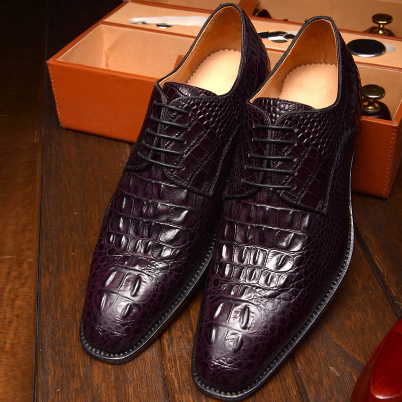 Goodyear men dress shoes crocodile pointed Leather Men shoes black brown color handmade men oxfords<br><br>Aliexpress