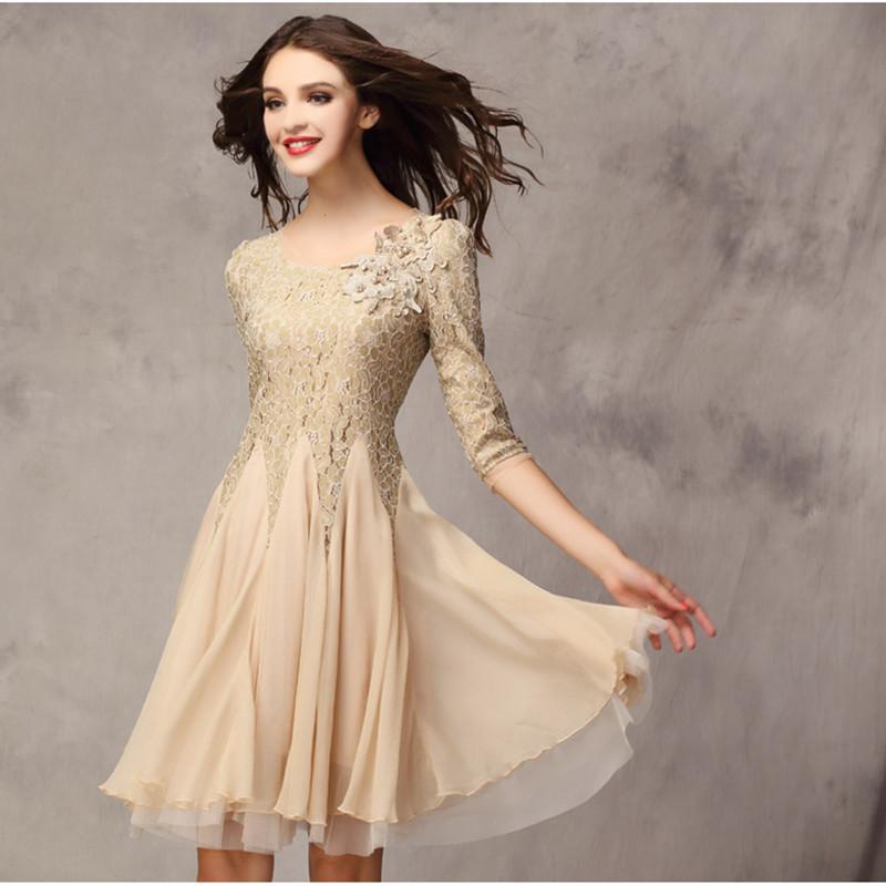 2015 Rushed Real Ball Gown O-neck Dresses The Fall Fashion Couture Slim Lace Dress Seven Quarter Sleeve Big Pendulum Chiffon(China (Mainland))