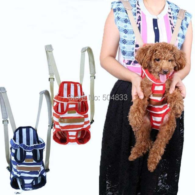 Canvas dogs backpack sailor striped puppy pets carrier travel bags blue red S M L