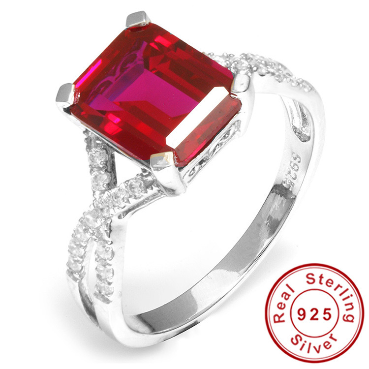 Emerald Cut Fashion Gem Stone For Women 4ct Pigeon Blood Red Ruby Ring Set So