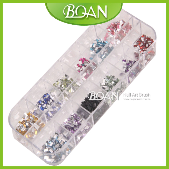 1 Box BQAN New arrival 12 Colors Rhinestone 1.2*3mm square shape Stikers 3D Nail Art Decoration(China (Mainland))