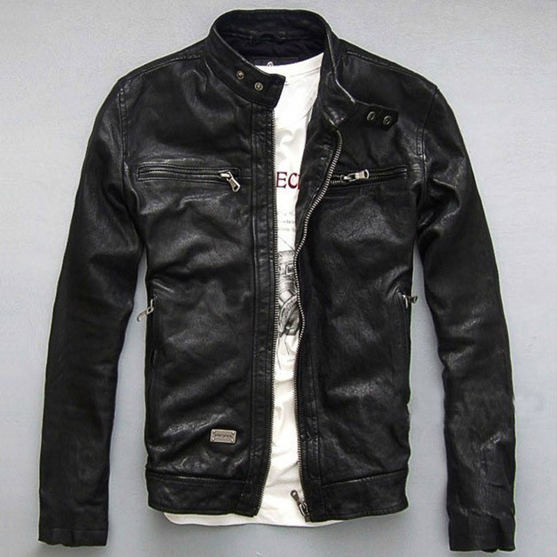 %sheepskin Brand men genuine leather jacket short motorcycle jackets