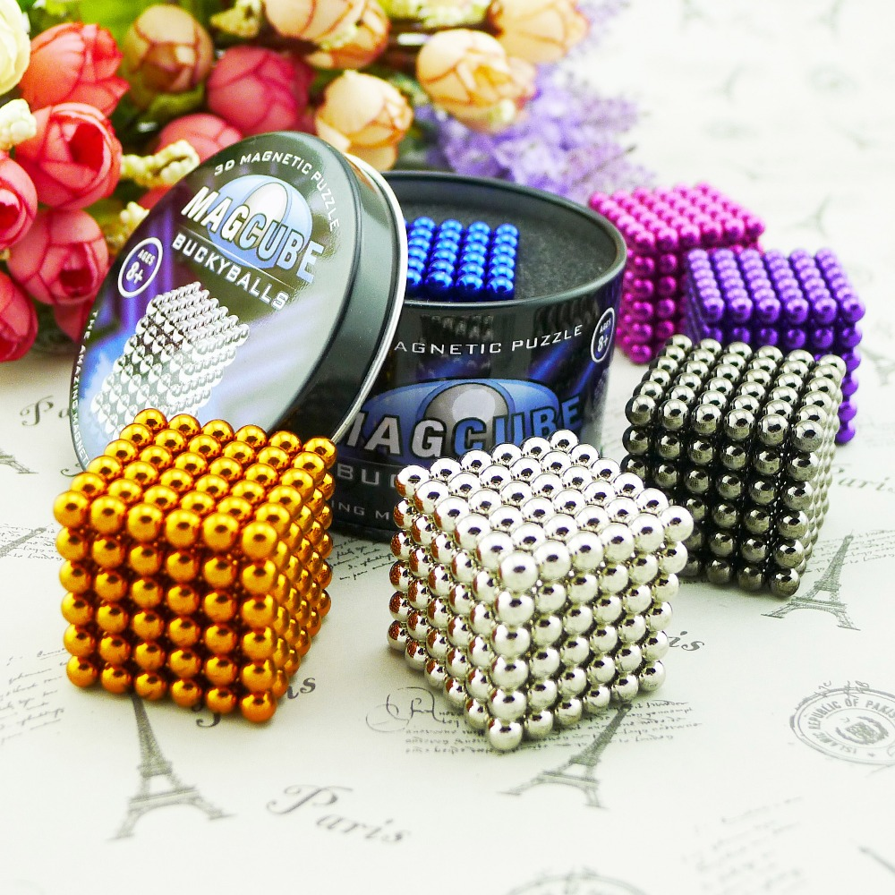 5mm 216pcs Metaballs Magnetic Balls Magnet Puzzle Block Neo Cube Magic Toys Magic Cube +Metal colour Box+Card For Gift Free Ship(China (Mainland))