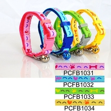 Wholesale Hand-in-hand (4 colors) 36pcs/lot Classic Bones Print Cat Collar Safety Buckle Style collar gato 1.0cm Free shipping(China (Mainland))