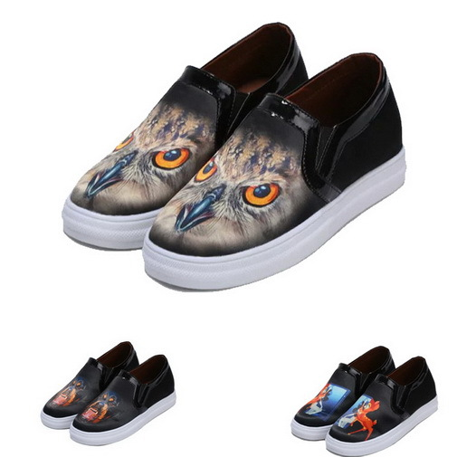 Womens Flats Shoes On Platform Print Ladies Shoes Round Toe Womens Flats Slip On Comfort Women Casual Shoes(China (Mainland))