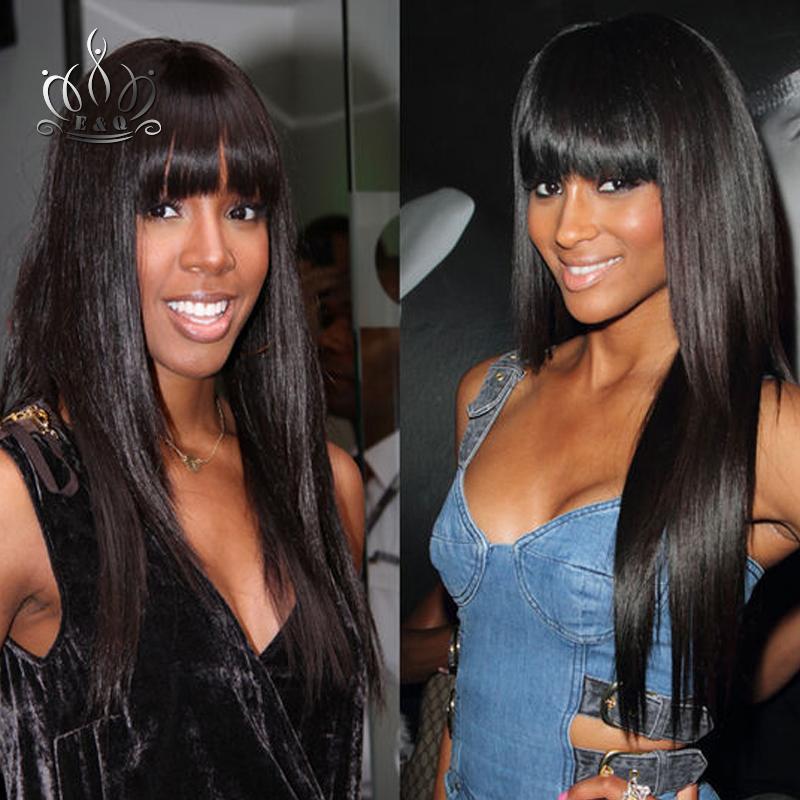 Full Lace Human Hair Wigs Virgin Brazilian Straight wig Bang Front Glueless Black Women - Qingdao ElegantQueen product Co. ltd(T3 Store store)